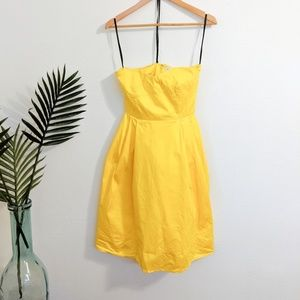 Calvin Klein Strapless Fit and Flare Dress Yellow